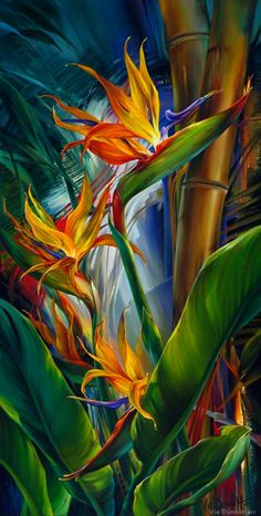 """""""Paradise And Her Birds"""" by Vie Dunn-Harr...original oil painting"""