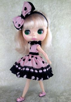 Blythe Blythe dress Blythe clothing Pink Black by TheDollsDresser, $18.95