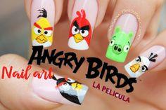 Decoración de uñas Angry birds - Angry birds nail art tutorial
