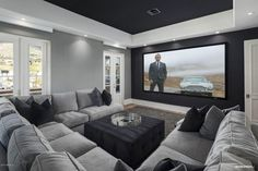 Home Theater Room Design, Home Cinema Room, Home Theater Rooms, Theater Room Decor, At Home Movie Theater, Basement Living Rooms, Living Room Decor, Basement Movie Room, Media Room Decor