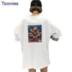 Hollow Out Women T Shirts Cotton Oversized Streetwear AsymmetricT-shirt Printing Patchwork Vintage Tees K-pop T-shirt Female #Affiliate