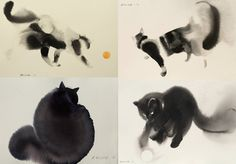 Water & ink cats ~ artist Endre Penovác #art #watercolor