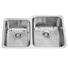 VIGO 32-in x 20.75-in Double-Basin Stainless Steel Undermount 1-Hole Commercial/Residential Kitchen Sink
