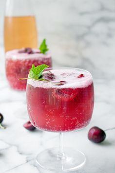 Cherry sorbet & rosé wine spritzers | Yes, please!