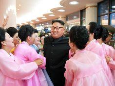 Performers meet North Korean leader Kim Jong-Un at
