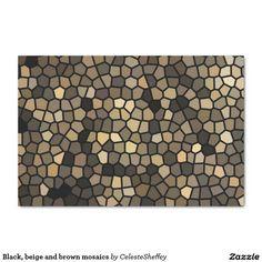 "Black, beige and brown mosaics 10"" x 15"" tissue paper"