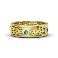 Men's 14K Yellow Gold Ring with Blue Topaz - Alhambra Knot Band   Gemvara