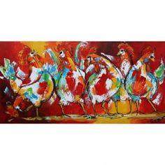 Bonte kippen Een kleurrijk schilderij van zes bonte kippen op een rij. Dit alles weergegeven op een rood gele achtergrond. Vrolijk modern doek dat overal kan hangen.