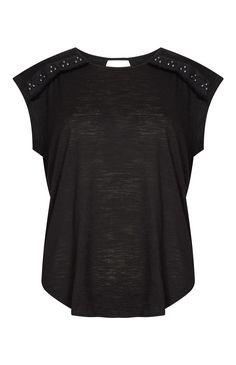 Primark - Top noir avec ornements sur les épaules