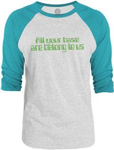 Big Texas All Your Base are Belong to Us (Green) 3/4-Sleeve Raglan Baseball T-Shirt