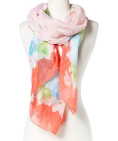 Look what I found on #zulily! Peach Floral Scarf by Karma Kreations #zulilyfinds