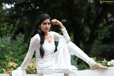 Check Out Exclusive Photos of Beautiful Indian Film Actress Madhumitha Krishna in White Punjabi Dress   Tollywood Actress Wallpapers