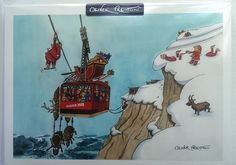 Skiing Christmas Card by Oliver Preston 10 Pack - Skigifts.co.uk