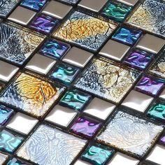 Multicolor Tile Backsplash Per Sheet, Multicolored Mix Silver Coated Glass Mosaic Glossy Tile, Bathroom Wall & Floor Tiles White Mosaic Tiles, Glass Mosaic Tiles, Stone Mosaic, Mosaic Wall, Mirror Mosaic, Marble Mosaic, Wall And Floor Tiles, Wall Tiles, Tile Art