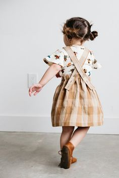 This pinafore is perfectly simple. Its perfect for rolling in the grass or going to farmer's markets. Its so good for spring and summer! The possibilities of styling this piece are endless. The plaid Little Girl Fashion, Toddler Fashion, Kids Fashion, Fashion Outfits, Fashion Shoes, Kids Wardrobe, Stylish Kids, Kid Styles, Kids Wear