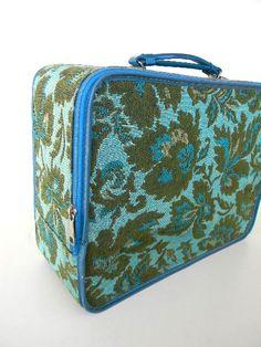vintage train case luggage carpet bag by snugsnuggery on Etsy, $35.00