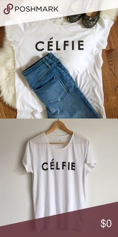 """Célfie Tee Cèlfie tee. Purchased from Target. Size XL. Approx. 21"""" bust, 27"""" long from shoulder to hem. Only worn a few times. No damage. No trades or holds. Price is firm. Tops Tees - Short Sleeve"""