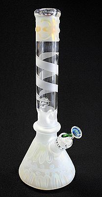 """20"""" Tall Kaos Sand Blasted White Hand Blown Glass Water Pipe."""