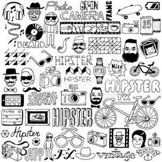 Hipster doodle mega set. Vector illustration. royalty-free stock vector art