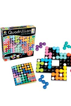 With Quadrillion, kids click four magnetic grids together any way they like. They then have to get 12 puzzle pieces to fit on that game board. With millions of challenges possible, the fun never ends.  Quadrillion, $21.95; @SmartGamesUSA