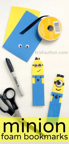 Minion Googly Eye Foam Bookmarks; trishsutton.com