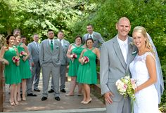 Tracy & Robert - Giddy in Green | Love Is All You Need Photography | As seen on TodaysBride.com |wedding photography, green bridesmaids dresses, green and grey groomsmen