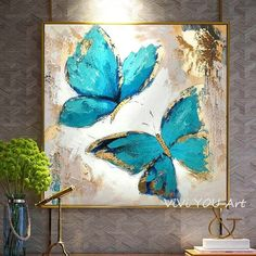 Extra large blue abstract painting, modern acrylic art, original abstract art, texture painting Butterfly Artwork, Butterfly Canvas, Butterfly Painting, Blue Butterfly, Oil Painting Flowers, Oil Painting On Canvas, Canvas Wall Art, Oil Paintings, Flower Paintings On Canvas