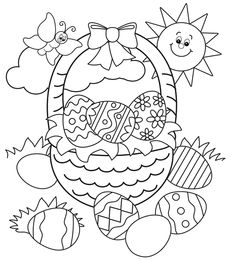 easter basket egg colouring page