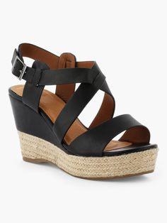 fdd4a02605a16f Sandales femme - Nu-pieds femme - Chaussure femme. AFFAIRE DE STYLES  Sandales Compensées Multibrides Noir