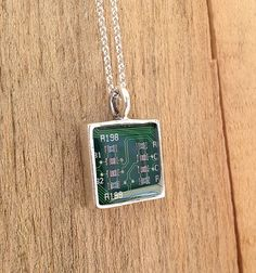 square upcycled circuit board necklace resin pendant  recycled jewelry sterling silver chain