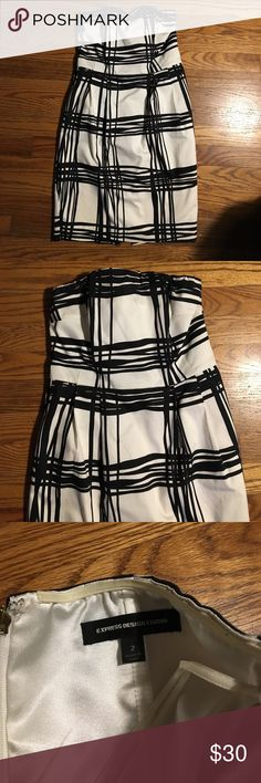 Black and white Express dress Super cute dress with pockets! Only worn once. Black and white. Express. Size. 2. Express Dresses Strapless