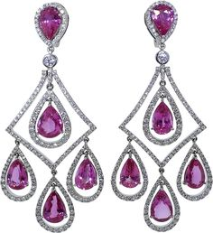 INBAR Pink Sapphire Chandelier Earrings