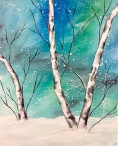 Snowy Birches. Winter Birch tree painting with blue and green sky against snow covered ground.