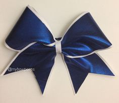 Royal blue and white cheer bow by MyBowPeeps on Etsy