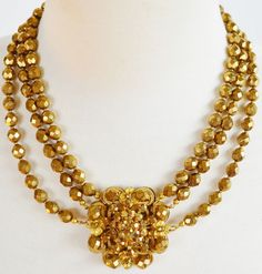 Vintage Miriam Haskell 3 Strand Faceted Bronze Glass Bead Statement Necklace  #MiriamHaskell #StrandString