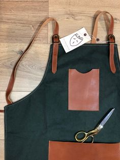 Your place to buy and sell all things handmade Leather Buckle, Cowhide Leather, Brown Canvas, Leather Accessories, Chefs, Woodwork, Metal Working, Barbecue, Apron
