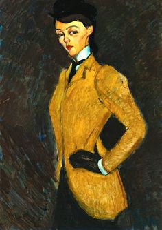 Amedeo Modigliani, L'Amazone. Painted in 1909. Signed Modigliani lower left. Oil on canvas, 36 ¼ x 25 ⅝ inches.