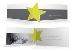 Weihnachtskarte Stern - Klappkarte DIN lang mit Ihrem Foto und nach Ihren Farbwünschen individuell gestaltet von Familienmomente