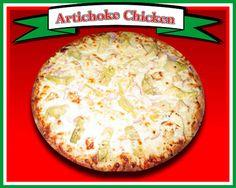 Artichoke Chicken Pizza  Ranch dressing, mozzarella cheese, artichoke hearts, grilled chicken, red onions, & chopped garlic