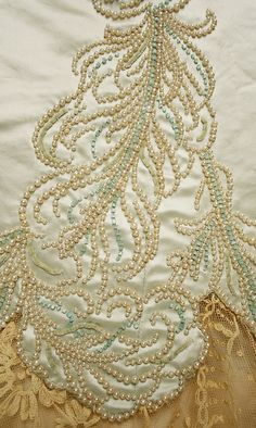 fawnvelveteen:   House of Worth,Evening dress (details),1890s, from the MetMuseum