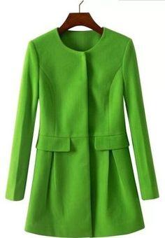 70% OFF Women's Stylish Round Neckline Solid Woolen  Coat L