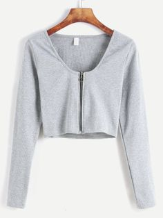 Shop Pale Grey Zip Up Front Crop T-shirt online. SheIn offers Pale Grey Zip Up Front Crop T-shirt more to fit your fashionable needs. Teenager Outfits, Girl Outfits, Fashion Outfits, Style Fashion, Classy Outfits, Trendy Outfits, Grey Zip Ups, Mode Streetwear, Crop Top Outfits