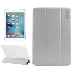 For+iPad+Mini+4+ENKAY+Silver+Silk+Texture+Smart+Cover+Leather+Case+with+3+Fold+Holder