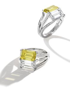 Fancy Yellow Diamond and Diamond 'Twin' Ring, Carvin French: set with an emerald-cut fancy vivid yellow diamond ( beside an emerald-cut diamond ( the mounting accented by round diamonds (approx. Crystal Jewelry, Jewelry Rings, Unique Jewelry, Fine Jewelry, Jewelry Design, Women Jewelry, Jewellery, Ruby And Diamond Necklace, Diamond Rings