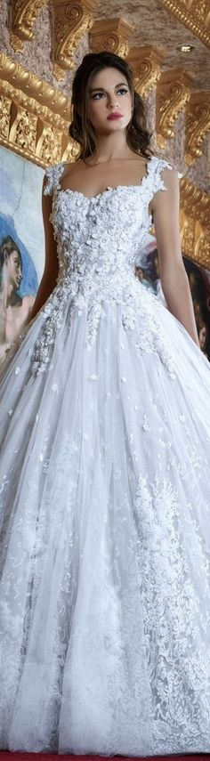 Amazing White Embroidered Bridal Gown Hanna Toumejan