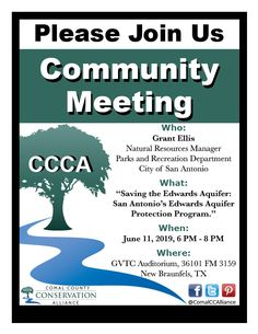 Join us at our Community Meeting on June 2019 to hear our guest speaker Grant Ellis, Natural Resources Manager for the City of San Antonio. Ellis will be speaking about saving the Edwards Aquifer. Community Jobs, Community Places, Community Activities, Community Events, Canyon Lake, Guest Speakers, Parks And Recreation, Natural Resources, Conservation