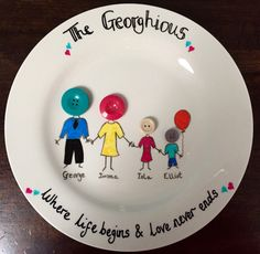 A personal favourite from my Etsy shop https://www.etsy.com/uk/listing/271332358/personalised-handmade-family-plate