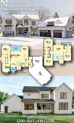 Architectural Designs - Selling quality house plans for over 40 years - Modern . Architectural Designs - Selling quality house plans for over 40 years - Modern Dream Hause - Sims House Plans, Dream House Plans, House Floor Plans, Dream Houses, Two Story House Plans, Large House Plans, 4 Bedroom House Plans, Layouts Casa, House Layouts