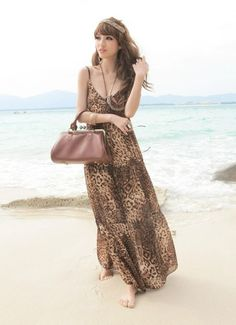 Bohemian Style Off-shoulder Long Slim Dress Leopard