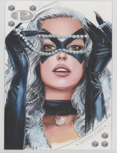 Black Cat sketch card by Fred Ian #FredIan #BlackCat #FeliciaHardy #SpiderMan #HeroesforHire #Defenders #sketchcard